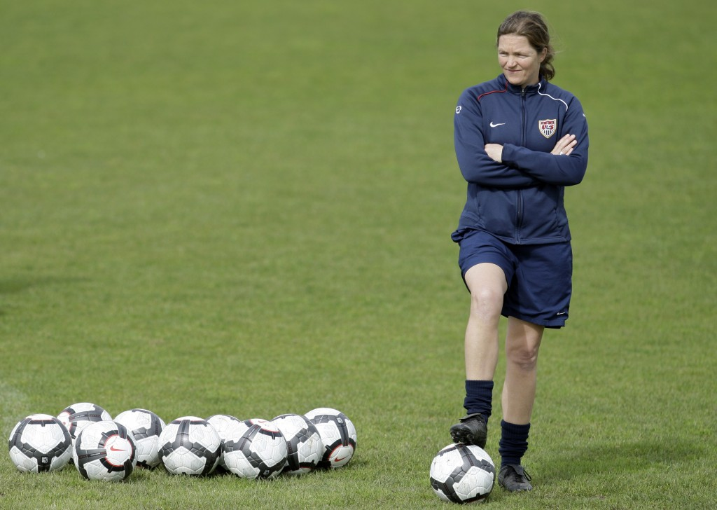 FILE - In this file photo dated Sunday, Feb. 28 2010, Hege Riise, from Norway, assistant coach of the United States Women's Soccer team, watches the p...