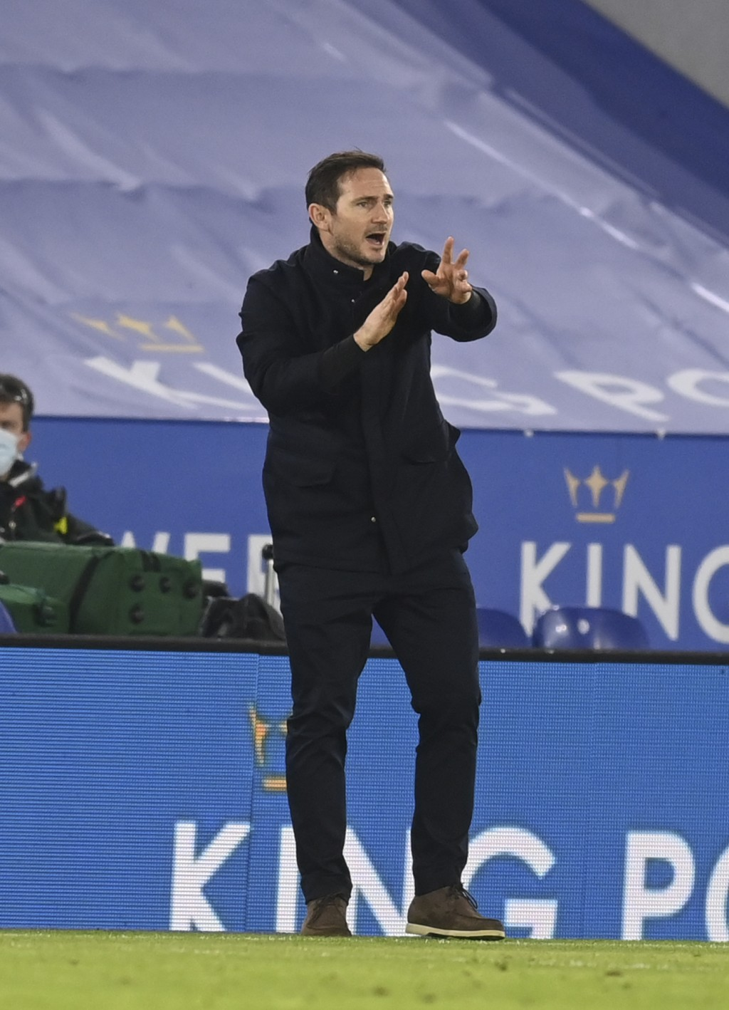 Chelsea's head coach Frank Lampard gives instructions to his players during the English Premier League soccer match between Leicester City and Chelsea...