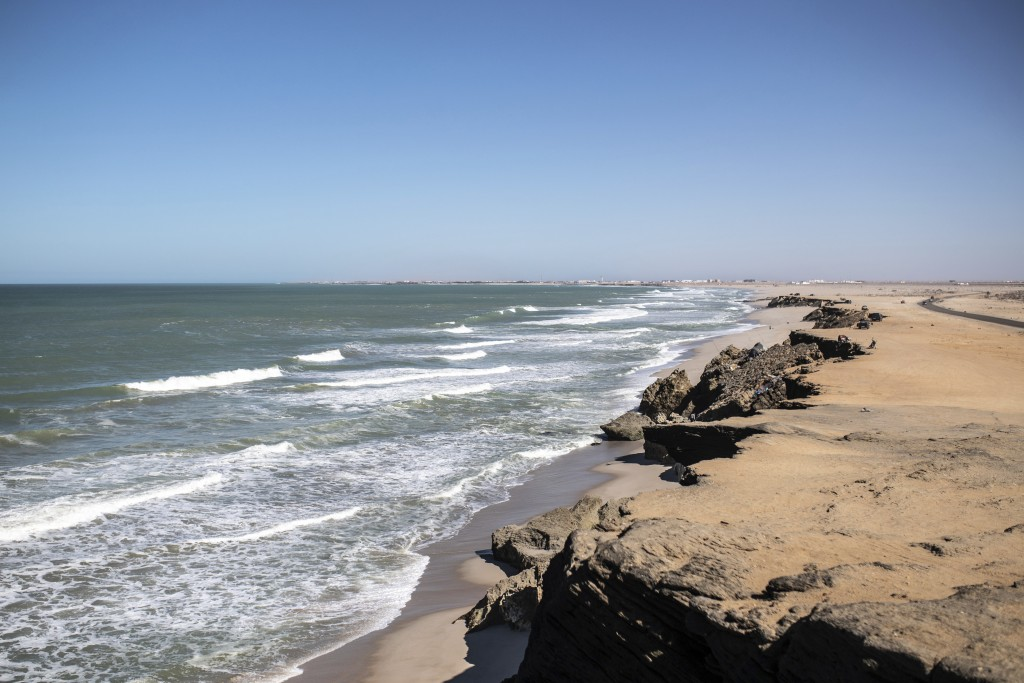 A view of the beach of the fishing town of La Sarga near Dakhla in Morocco-administered Western Sahara, Tuesday, Dec. 22, 2020. The peninsula city of ...