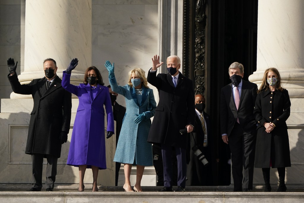President-elect Joe Biden, his wife Jill Biden and Vice President-elect Kamala Harris and her husband Doug Emhoff arrive at the steps of the U.S. Capi...