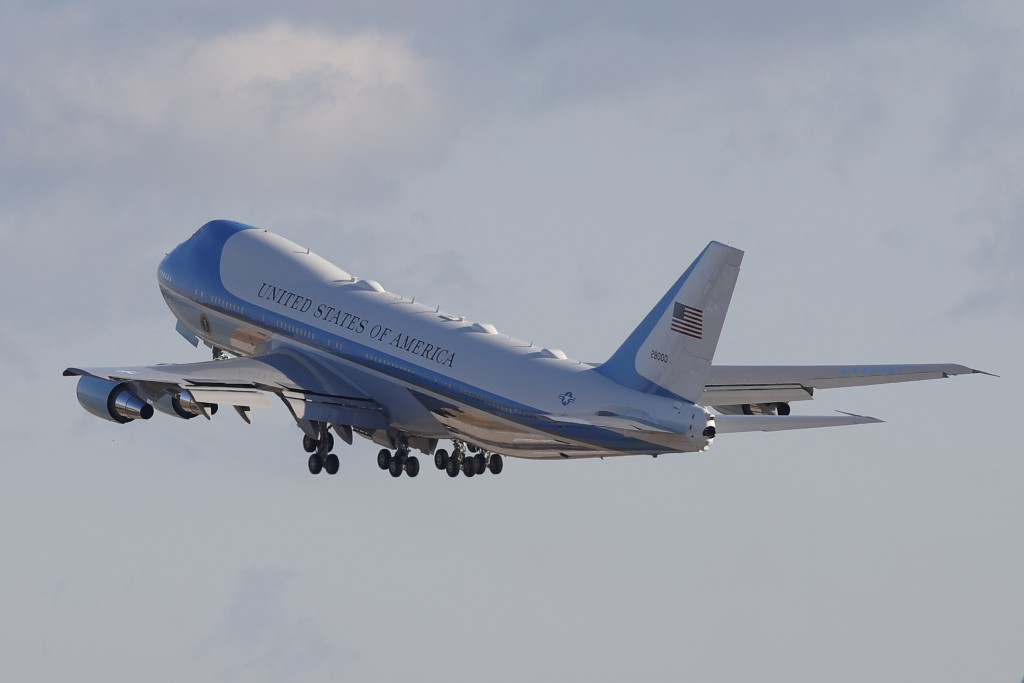 Air Force One with President Donald Trump and the first family on board, departs Andrews Air Force Base, Md., Wednesday, Jan. 20, 2021.(AP Photo/Luis ...