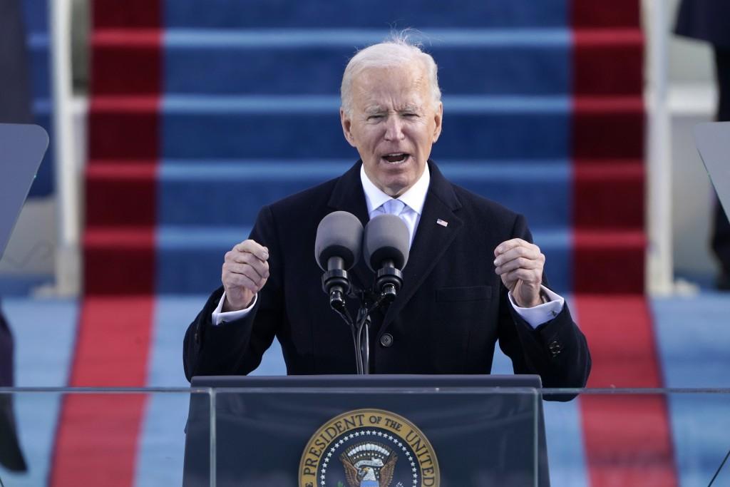 President Joe Biden speaks during the 59th Presidential Inauguration at the U.S. Capitol in Washington, Wednesday, Jan. 20, 2021.(AP Photo/Patrick Sem...