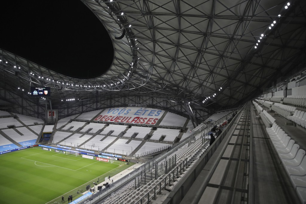 """A tribune is decorated by Marseille fans directed at their team reads """"You disgust us"""" ahead of the French League One soccer match between Marseille a..."""