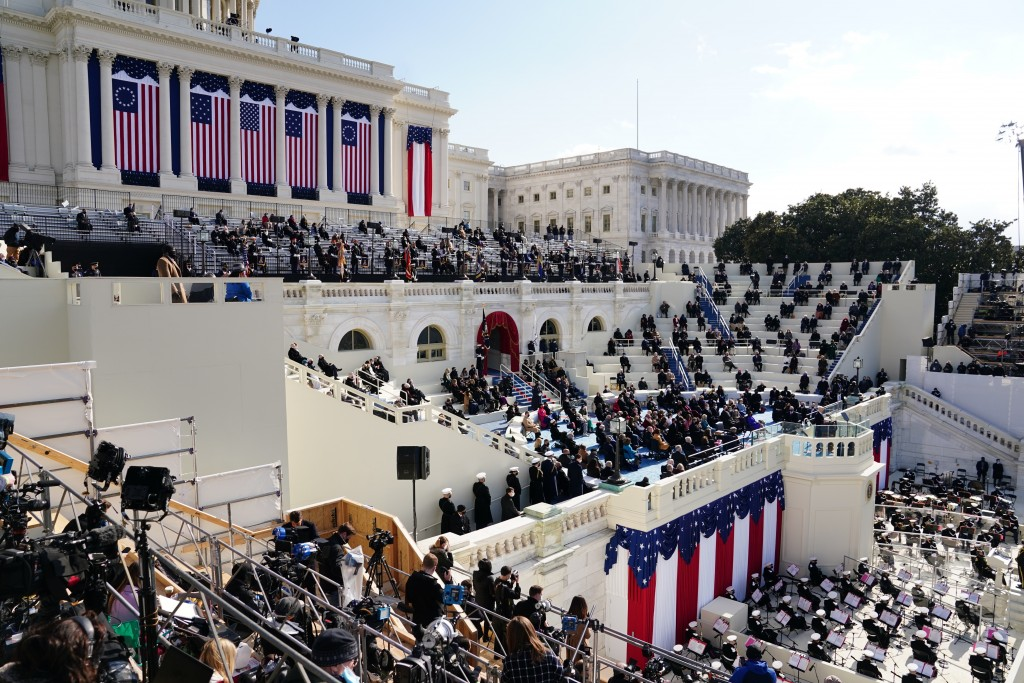 President Joe Biden delivers his inaugural address during the 59th Presidential Inauguration at the U.S. Capitol in Washington, Wednesday, Jan. 20, 20...