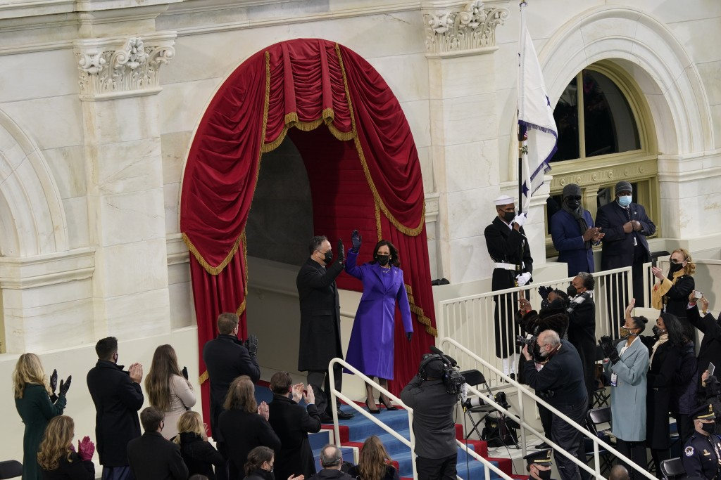President-elect Kamala Harris and her husband Doug Emhoff, arrive for the 59th Presidential Inauguration at the U.S. Capitol in Washington, Wednesday,...