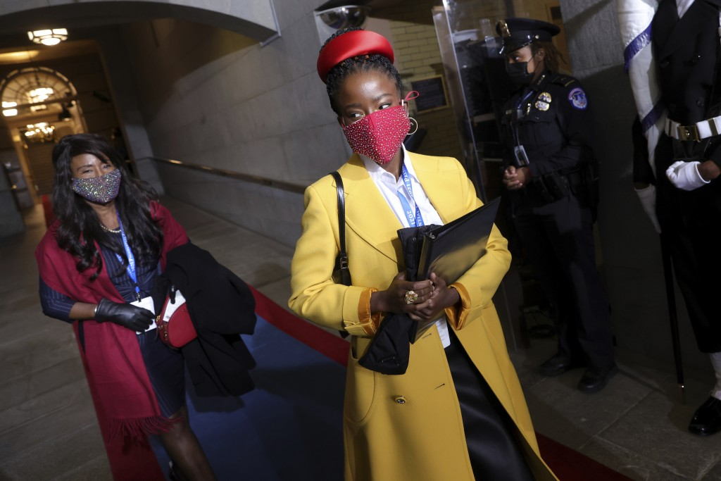 National youth poet laureate Amanda Gorman arrives at the inauguration of U.S. President-elect Joe Biden on the West Front of the U.S. Capitol on Wedn...