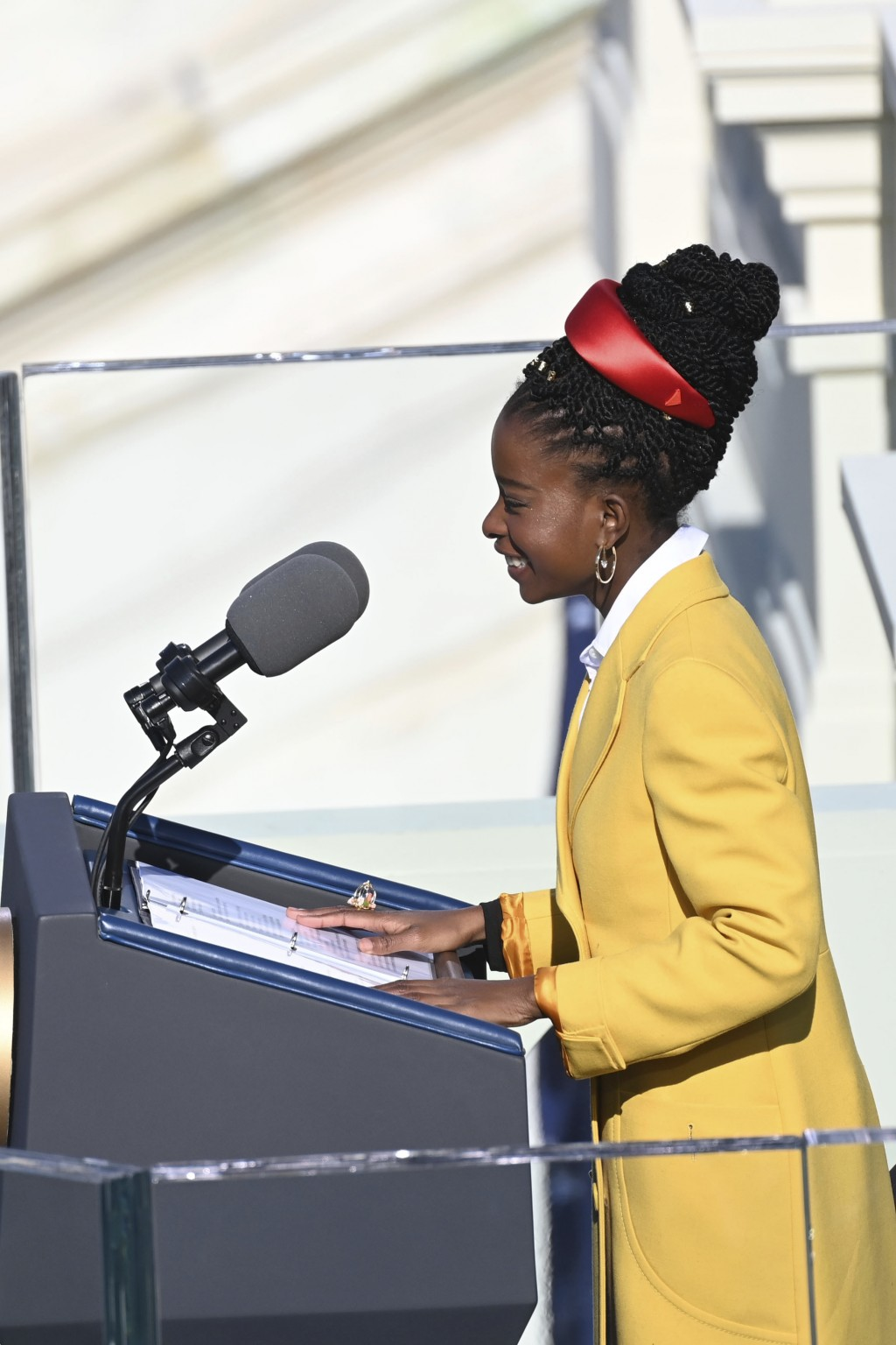 Poet Amanda Gorman recites one of her poems during the 59th Presidential Inauguration at the U.S. Capitol in Washington, Wednesday, Jan. 20, 2021.  (S...
