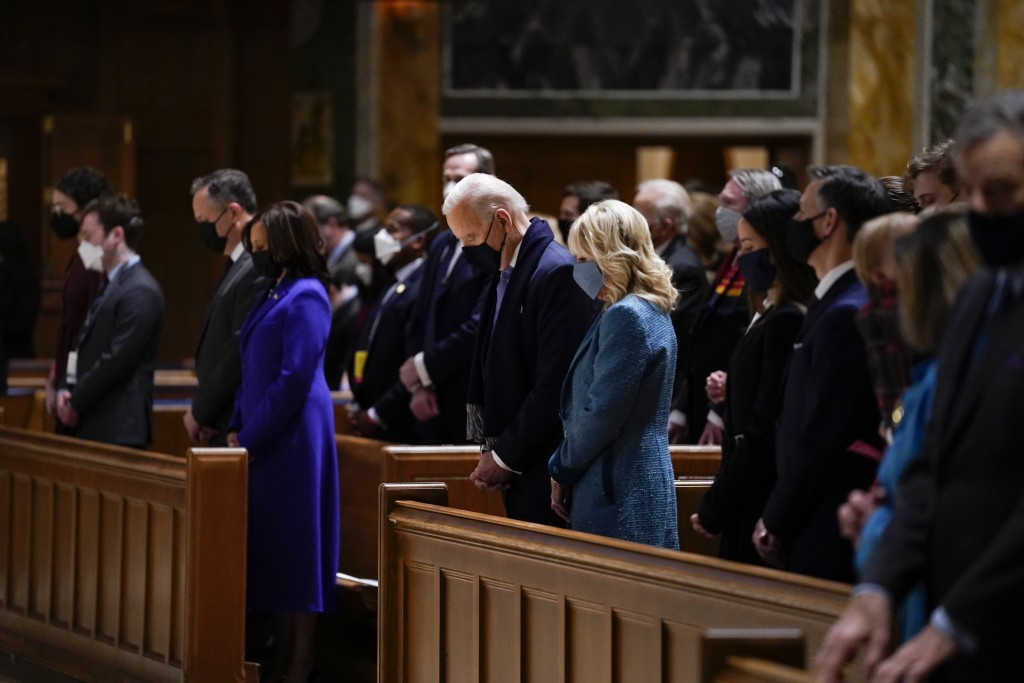 President-elect Joe Biden and his wife Jill Biden attend Mass at the Cathedral of St. Matthew the Apostle during Inauguration Day ceremonies Wednesday...