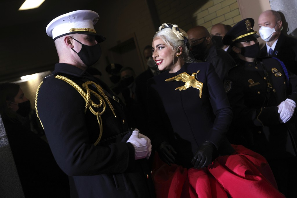 Lady Gaga arrives to sing the National Anthem at the inauguration of U.S. President-elect Joe Biden on the West Front of the U.S. Capitol on Wednesday...
