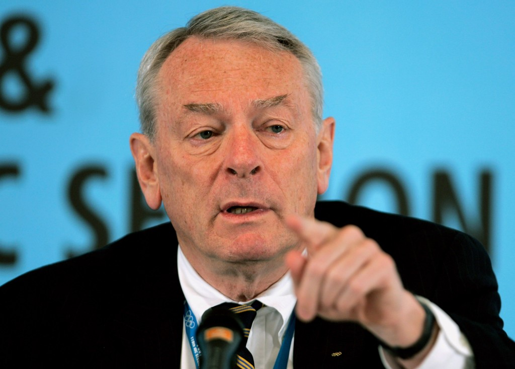 FILE - This is a Friday, July 6, 2007 file photo, World Anti-Doping Agency chief Dick Pound as he gestures during a press briefing at the 119th Sessio...
