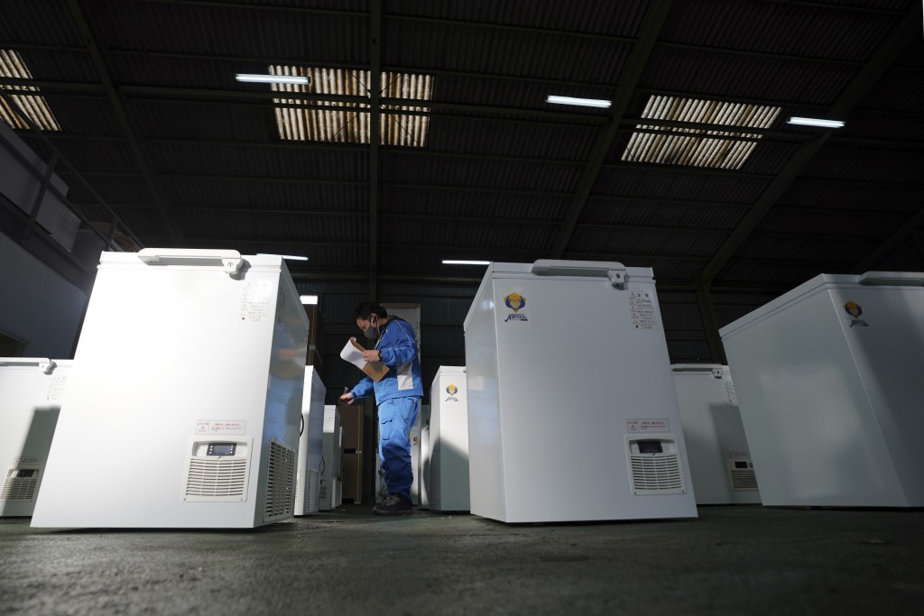 Brand-new ultralow-temperature freezers are seen at warehouse at Kanou Reiki, a freezer supplier, on Friday, Jan. 22, 2021 in Sagamihara, west of Toky...