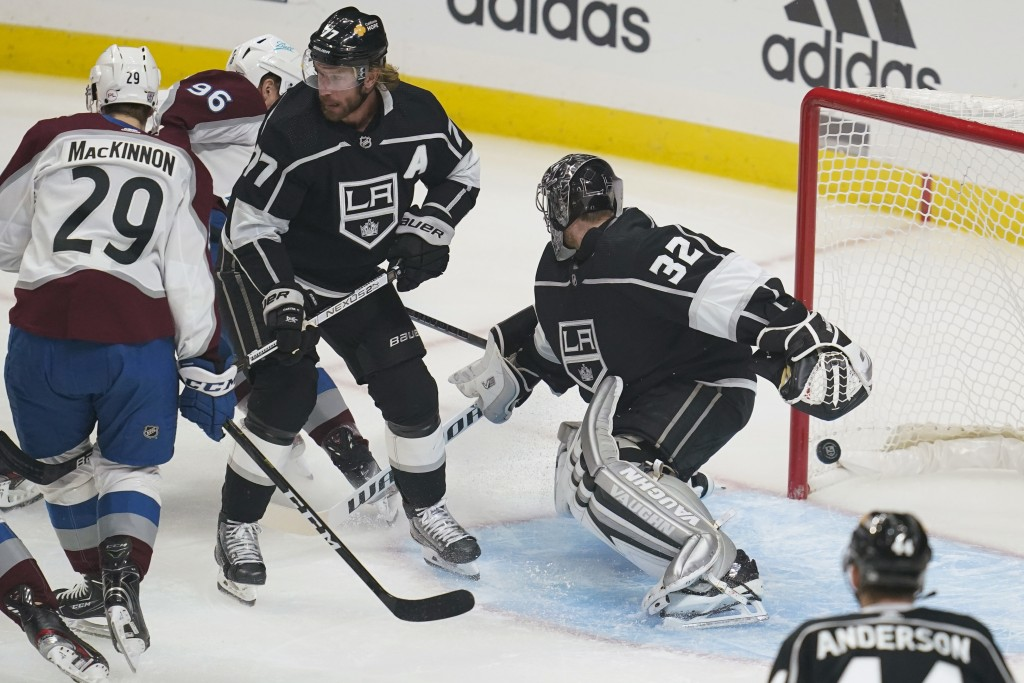 Colorado Avalanche right wing Mikko Rantanen (96) scores against Los Angeles Kings goaltender Jonathan Quick (32) during the first period of an NHL ho...