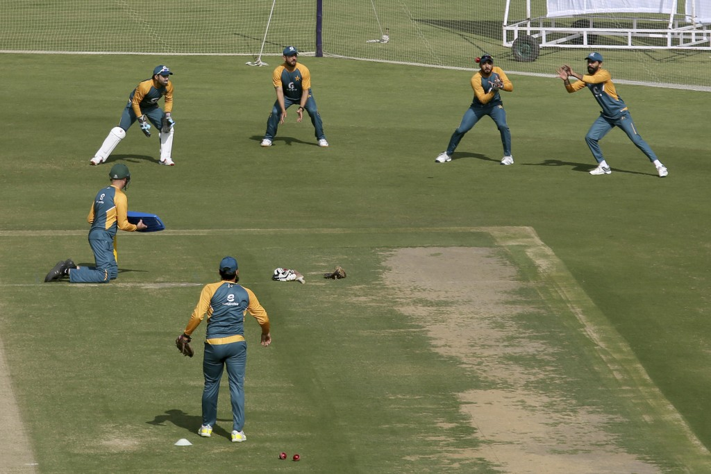 Players of Pakistan Cricket Team attend a practice session for an upcoming test match against South Africa at National Stadium, in Karachi, Pakistan, ...