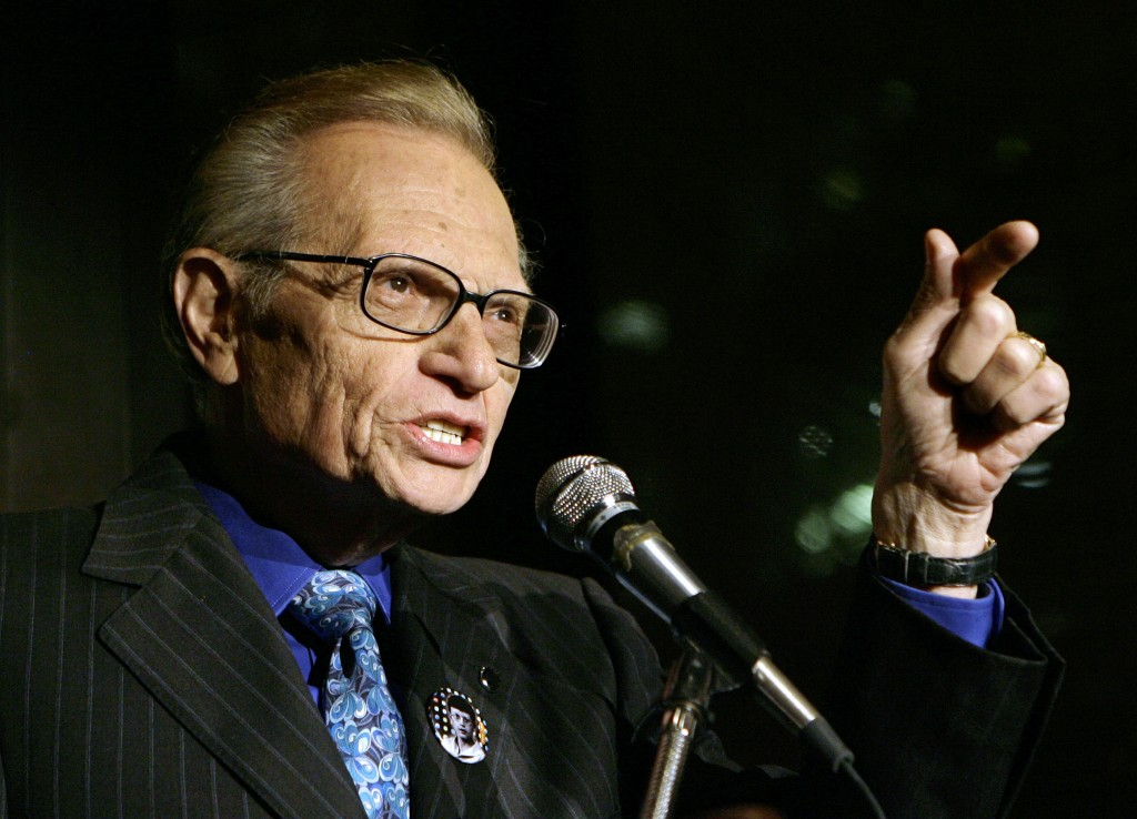 FILE - In this April 18, 2007 file photo, Larry King speaks to guests at a party held by CNN, celebrating King's fifty years of broadcasting in New Yo...