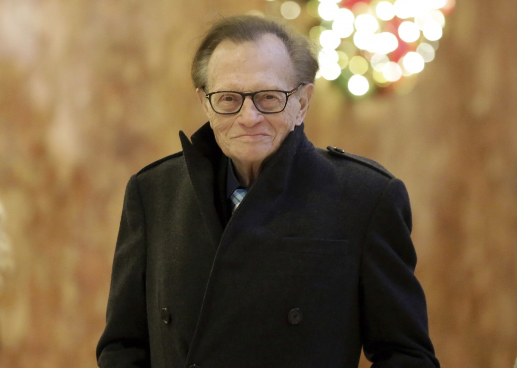 FILE - In this Dec. 1, 2016 file photo, Larry King arrives at Trump Tower in New York.  King, who interviewed presidents, movie stars and ordinary Joe...