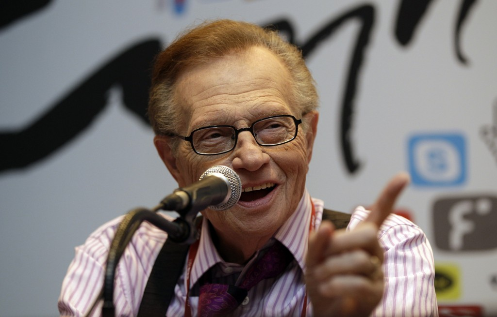 FILE - In this May 25, 2011 file photo, Larry King answers reporters' question at a press conference for Seoul Digital Forum in Seoul, South Korea.  K...