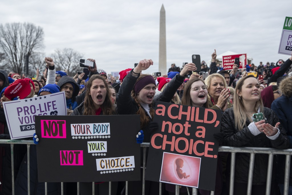 "FILE - In this Jan. 24, 2020, file photo, supporters cheer as President Donald Trump speaks during the annual ""March for Life"" rally on the National M..."