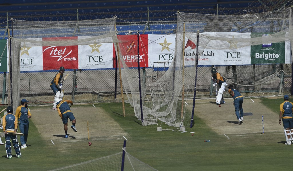 The Pakistan cricket team attend a practice session at National Stadium in Karachi, Pakistan, Monday, Jan. 25, 2021. Pakistan will play the first test...