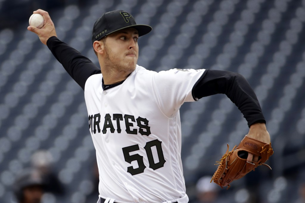 FILE - In this April 25, 2019, file photo, Pittsburgh Pirates starting pitcher Jameson Taillon delivers during the first inning of a baseball game aga...