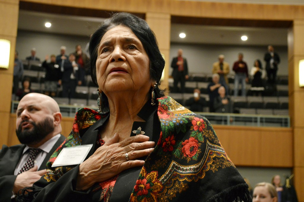 FILE - In this Feb. 27, 2019, file photo, Dolores Huerta, the Mexican-American social activist who formed a farmworkers union with Cesar Chavez, stand...