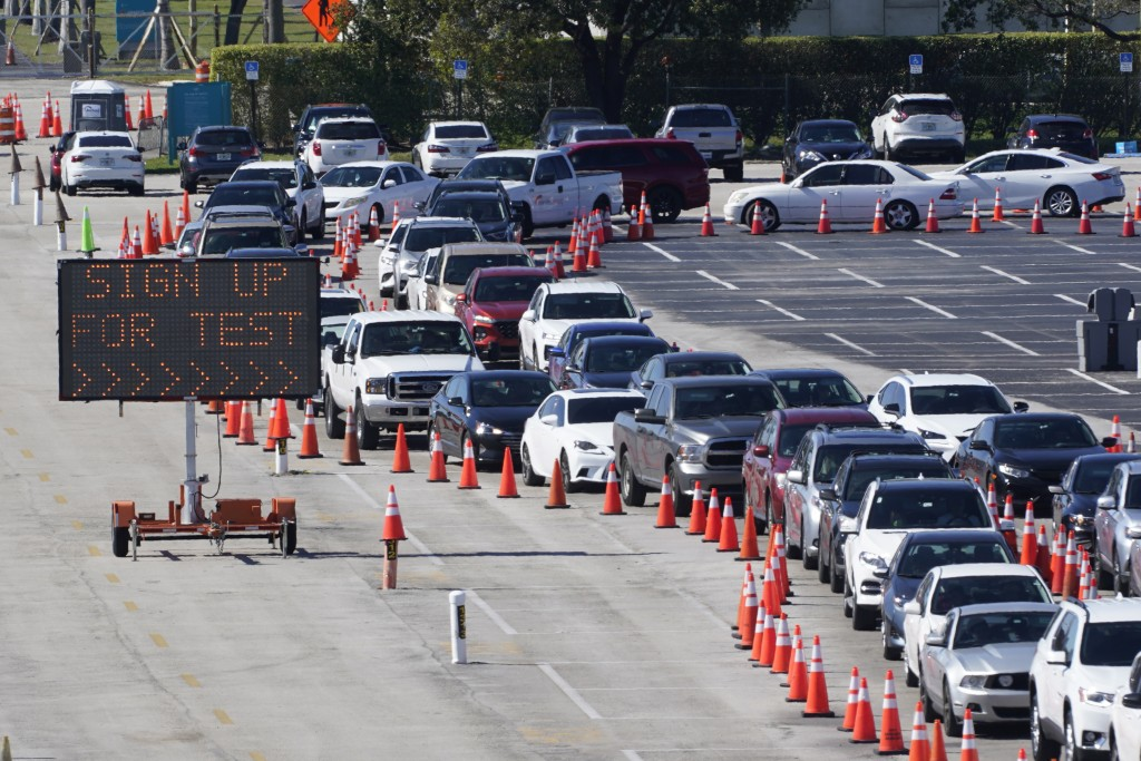 FILE - In this  Jan. 5, 2021, file photo, cars line up for COVID-19 testing outside Hard Rock Stadium in Miami Gardens, Fla. Coronavirus deaths and ca...
