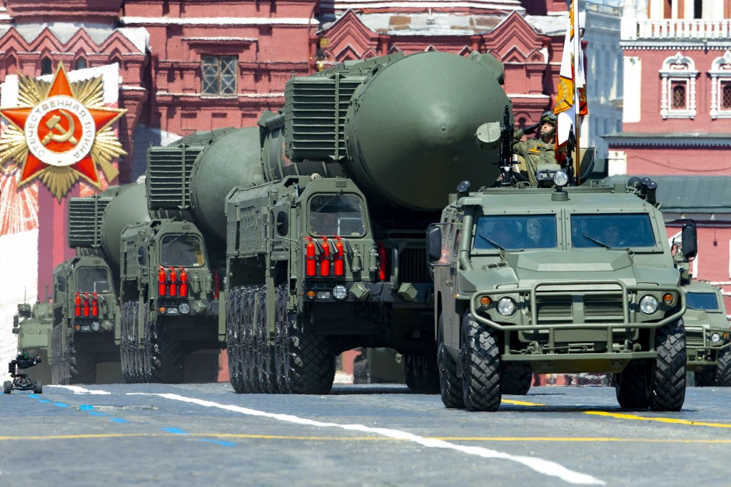 FILE - In this file photo taken on Wednesday, June 24, 2020, Russian RS-24 Yars ballistic missiles roll in Red Square during the Victory Day military ...