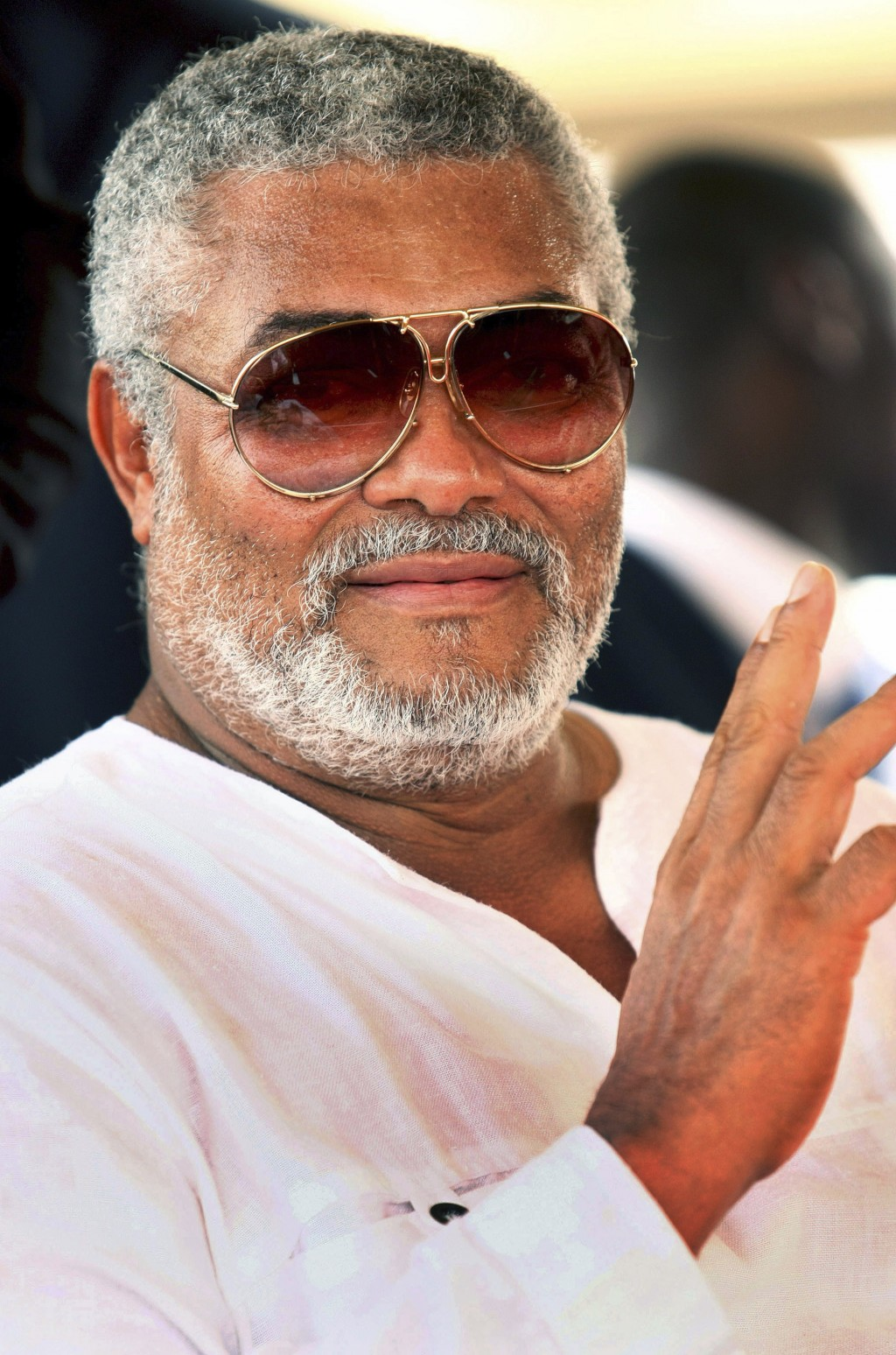 FILE - In this Wednesday, Jan. 7, 2009 file photo, former Ghanaian president Jerry Rawlings attends the inauguration ceremony of Ghana's new President...