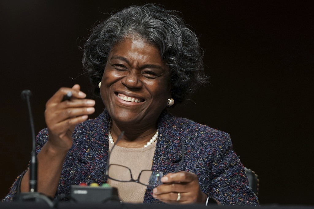 United States Ambassador to the United Nations nominee Linda Thomas-Greenfield smiles as she testifies during for her confirmation hearing before the ...