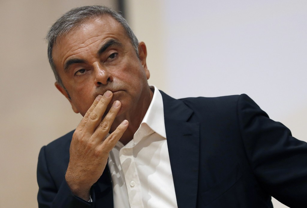 FILE - In this Sept. 29, 2020, file photo, former Nissan Motor Co. Chairman Carlos Ghosn holds a press conference at the Maronite Christian Holy Spiri...
