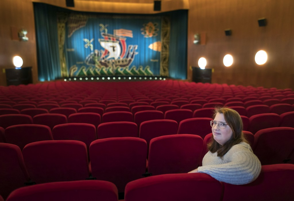 Malin Hellberg, sits alone to watch the film Tigrar, in Gothenburg, Sweden on Saturday, Jan. 30, 2021. The 44th Goteborg film festival opened this wee...