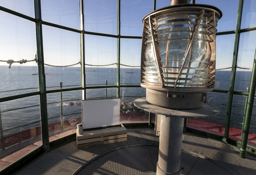 The interior of a lighthouse, which will act as a screening room, on the island of Hamneskar, western Sweden on Saturday, Jan. 30, 2021. The 44th Gote...