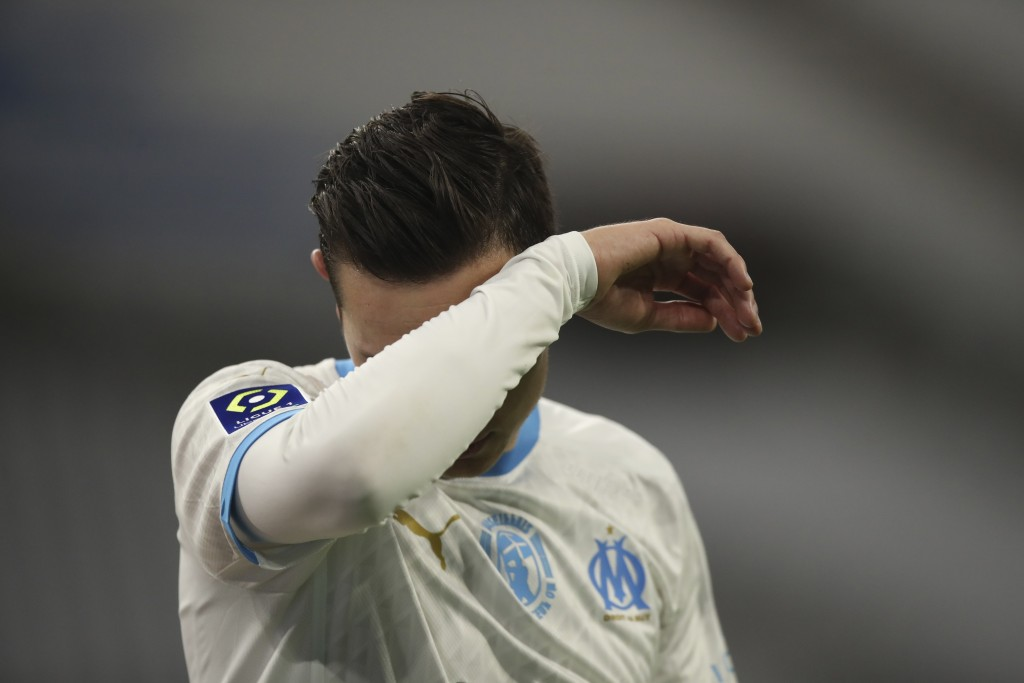 Marseille's Florian Thauvin reacts during the French League One soccer match between Marseille and Lens at the Veledrome stadium in Marseille, France,...