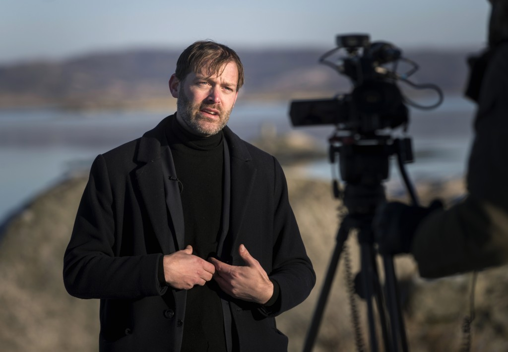 Jonas Holmberg, creative director of Goteborg Film Festival is interviewed by the Associated Press, on the island of Hamneskar, western Sweden on Satu...