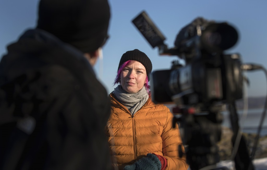 Lisa Enroth is interviewed by the Associated Press, on the island of Hamneskar, western Sweden on Saturday, Jan. 30, 2021. The 44th Goteborg film fest...