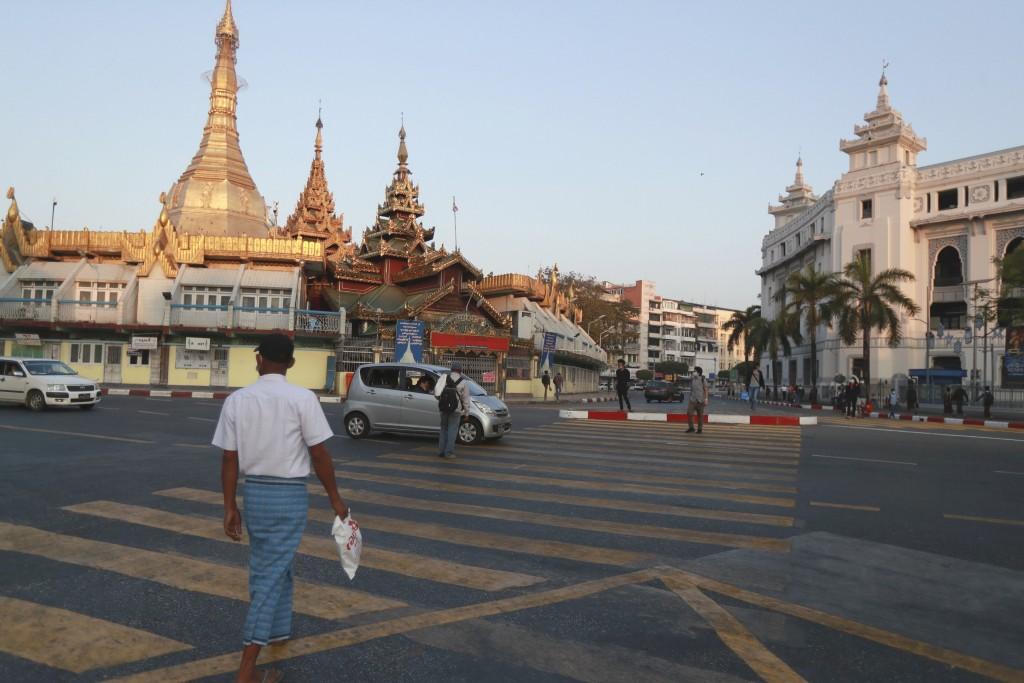 緬甸軍方在2月1日發動政變,並軟禁國務資政翁山蘇姬;圖為仰光(照片來源:美聯社)