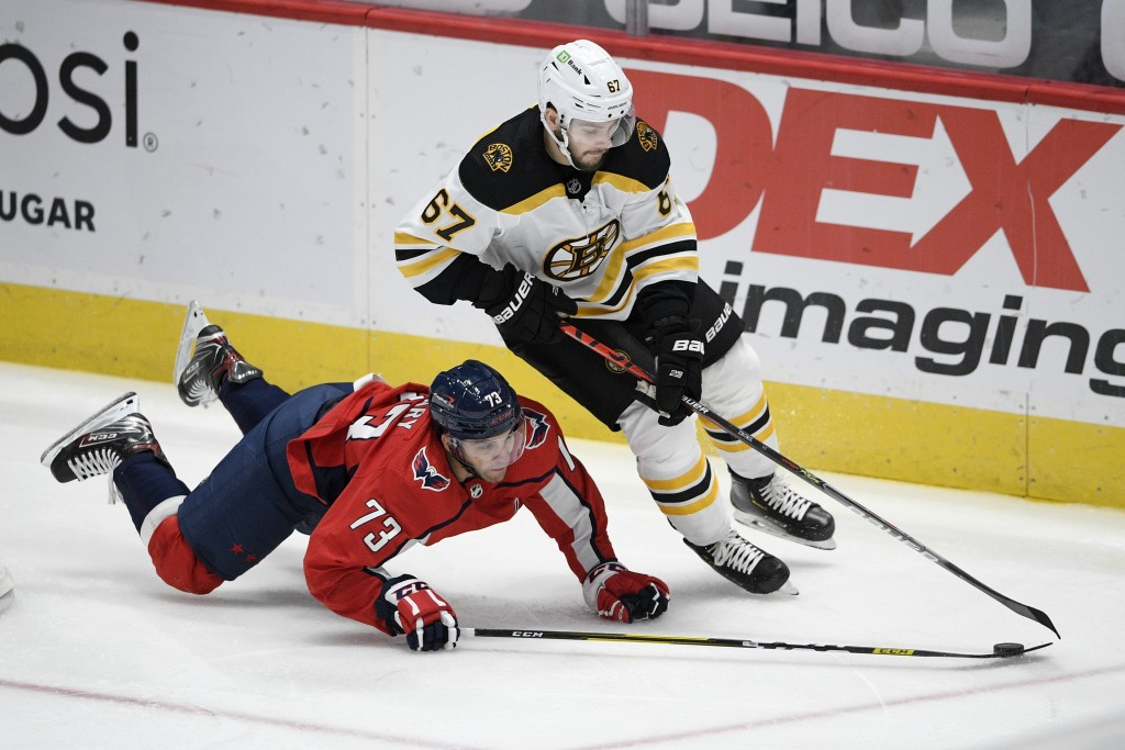 Washington Capitals left wing Conor Sheary (73) and Boston Bruins defenseman Jakub Zboril (67) battle for the puck during the second period of an NHL ...