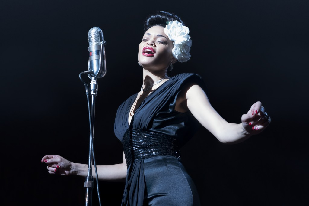 """This image released by Paramount Pictures shows Andra Day in """"The United States vs Billie Holiday."""" Day was nominated for a Golden Globe for best actr..."""