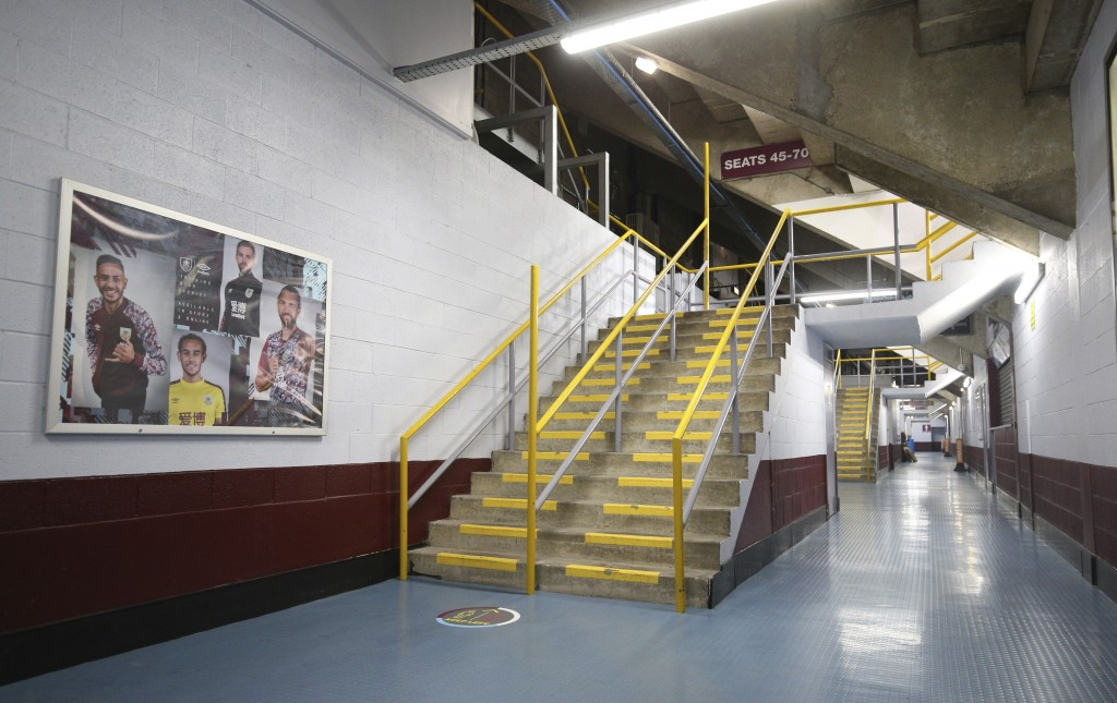 A view of an empty concourse before the English Premier League soccer match between Burnley and Manchester City at Turf Moor stadium in Burnley, Engla...