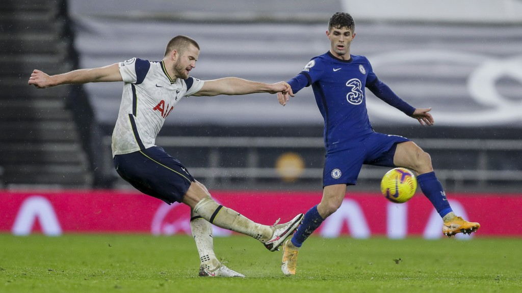 Chelsea's Christian Pulisic, right, and Tottenham's Eric Dier duel for the ball during the English Premier League soccer match between Tottenham and C...