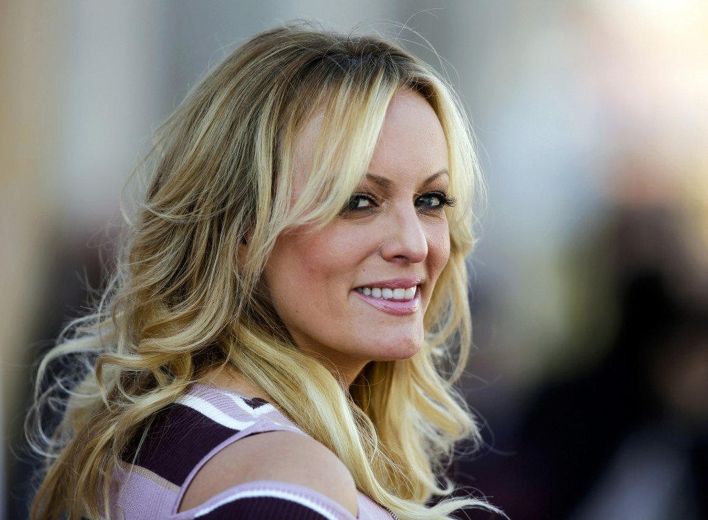 "FILE - In this Oct. 11, 2018, file photo, adult film actress Stormy Daniels attends the opening of the adult entertainment fair ""Venus,"" in Berlin. Wh..."