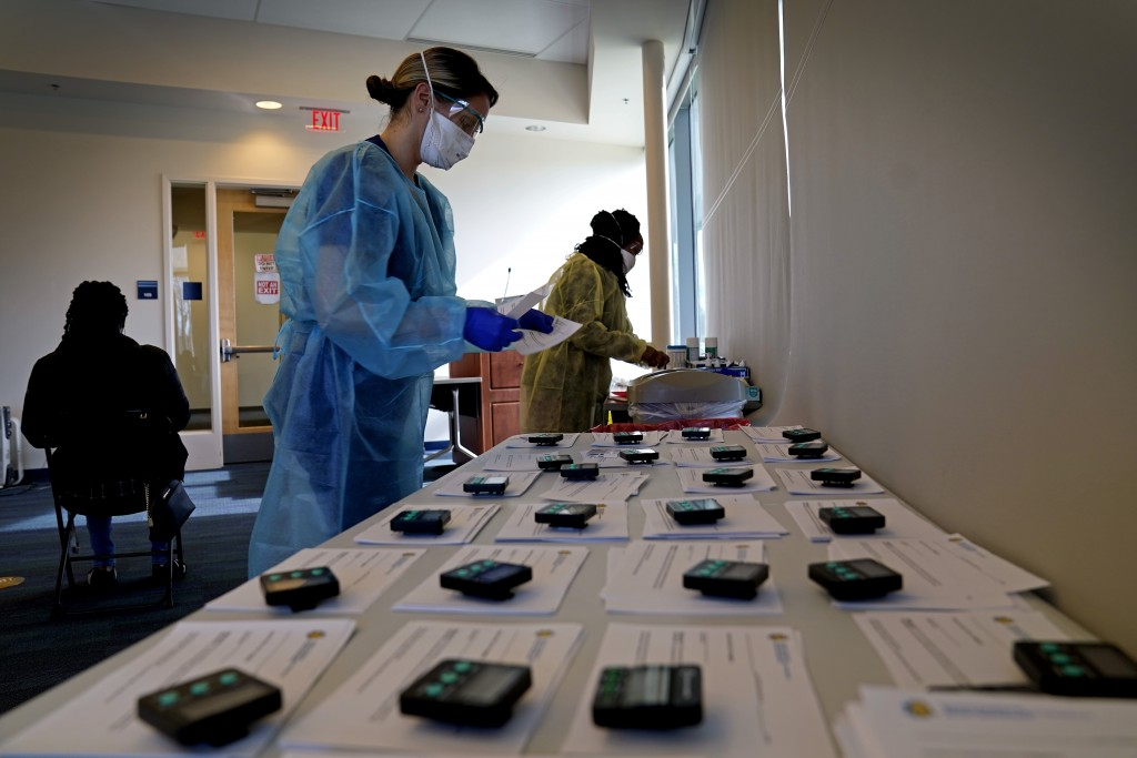 Certidied medical assistants conduct coronavirus rapid testing in the student health center at North Carolina Agricultural and Technical State Univers...