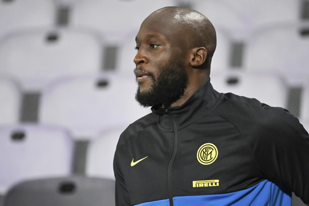 Inter Milan's Romelo Lukaku walks on the pitch prior to the Serie A soccer match between Fiorentina and Inter Milan, at the Artemio Franchi Stadium in...
