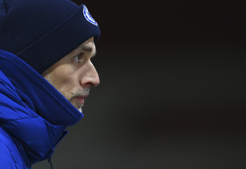 Chelsea manager Thomas Tuchel speaks to the media after the English Premier League soccer match between Sheffield United and Chelsea at Bramall Lane s...