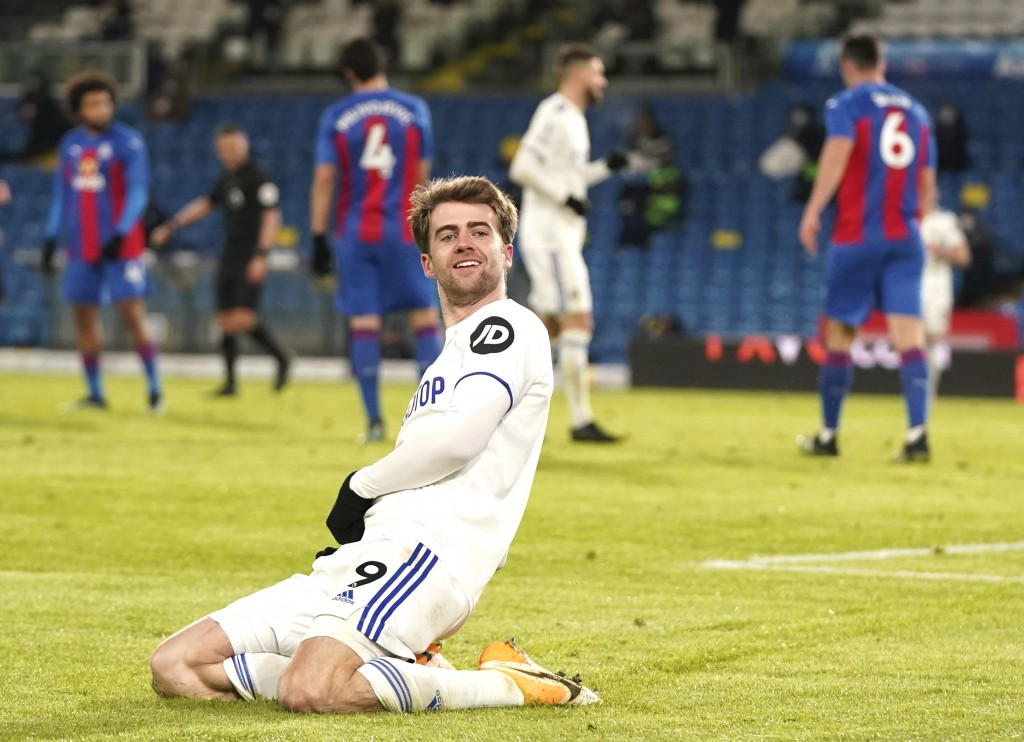 Leeds United's Patrick Bamford celebrates after scoring his side's second goal during the English Premier League soccer match between Leeds United and...