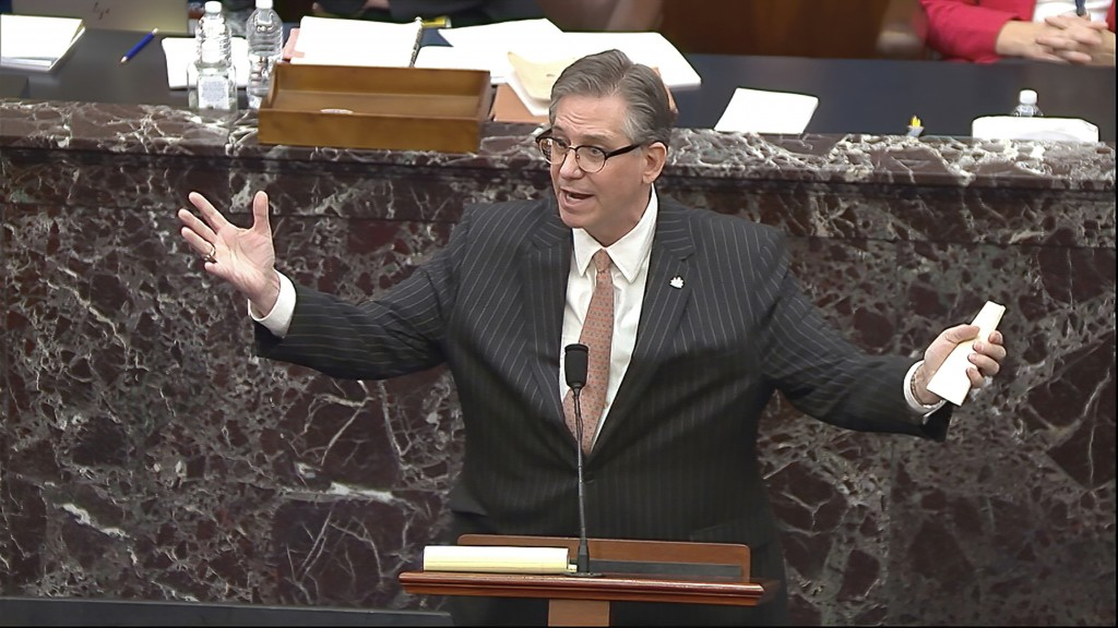 In this image from video, Bruce Castor, an attorney for former President Donald Trump, speaks during the second impeachment trial of Trump in the Sena...