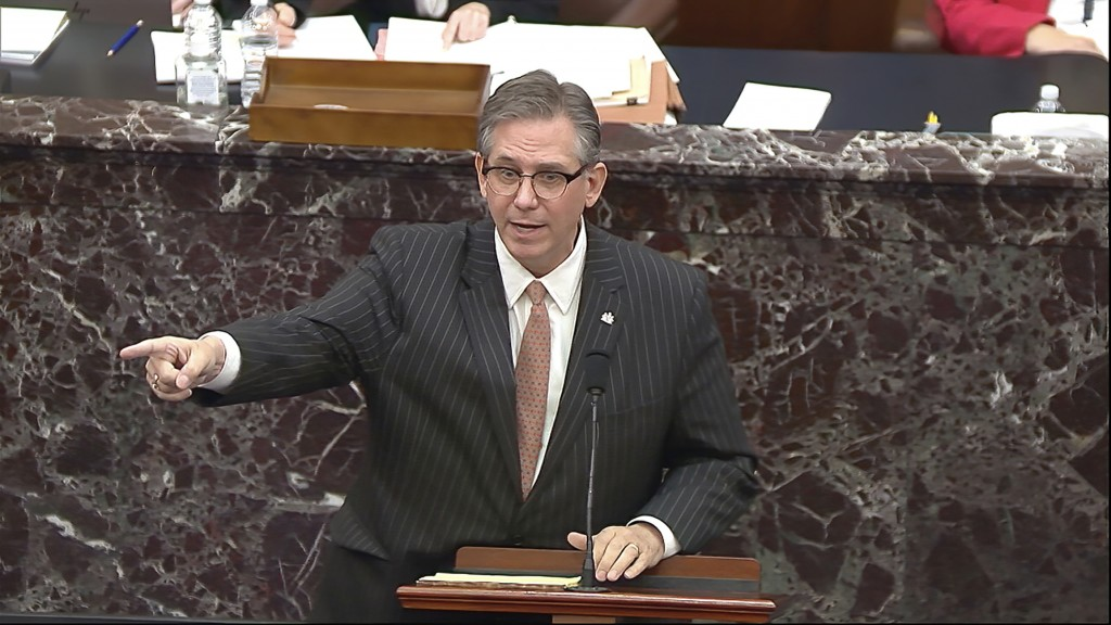 In this image from video, Bruce Castor, an attorney for former President Donald Trump speaks during the second impeachment trial of Trump in the Senat...