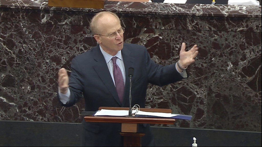 In this image from video, David Schoen, an attorney for former President Donald Trump, speaks during the second impeachment trial of Trump in the Sena...