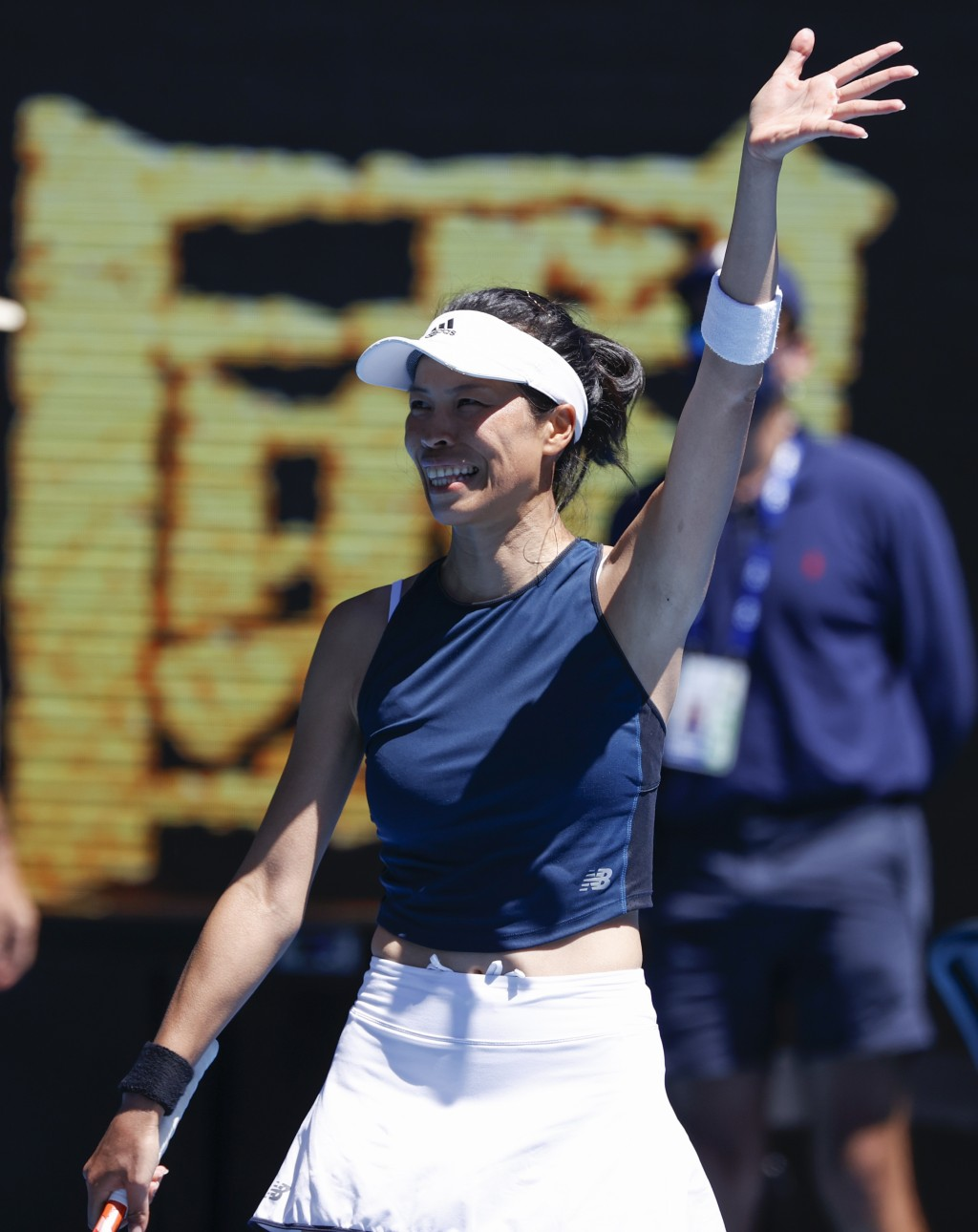 Taiwan's Hsieh Su-Wei, left, celebrates after defeating Canada's Bianca Andreescu in their second round match at the Australian Open tennis championsh...