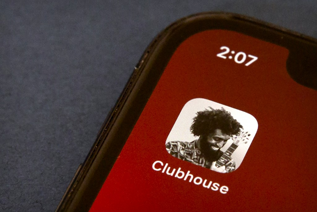 The icon for the social media app Clubhouse is seen on a smartphone screen in Beijing, Tuesday, Feb. 9, 2021. Clubhouse, an invitation-only audio chat...