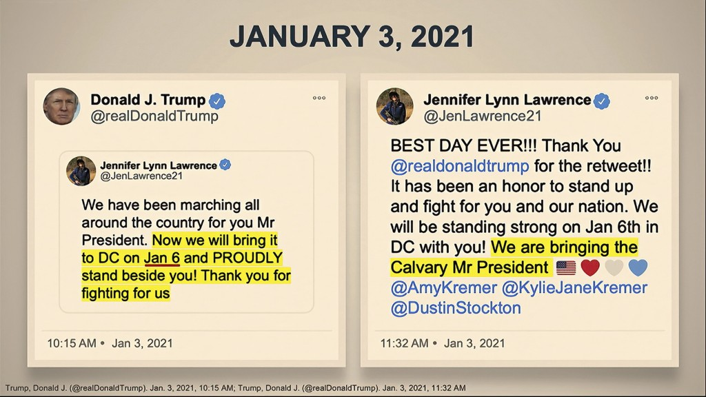 In this image from video, Tweets are displayed for senators as House impeachment manager Rep. Eric Swalwell, D-Calif., speaks during the second impeac...